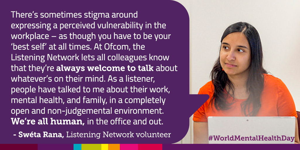 Image of an Ofcom employee talking about how Ofcom's listening support network help people with mental health issues
