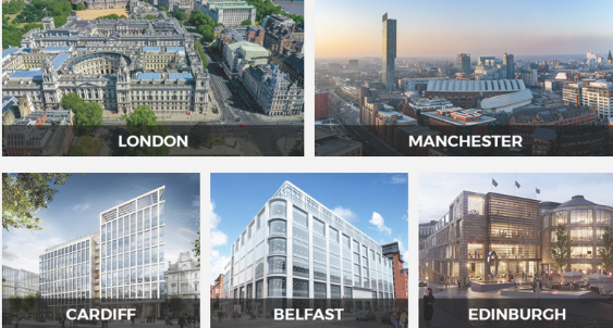 DCMS locations across the UK: London, Manchester, Cardiff,  Belfast, Edinburgh.