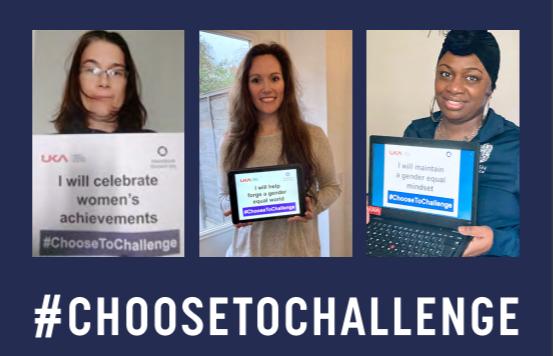 3 female members of UKA and BA staff holding choose to challenge IWD 2021 pledges