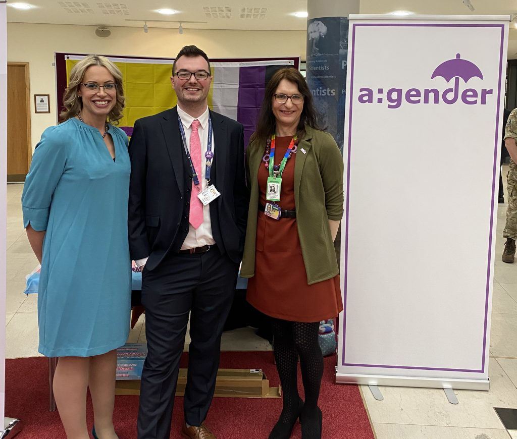 Nathan with members of the a:gender group at the RAF's big conversation event.