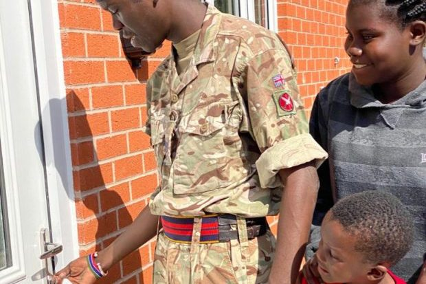 An Army family arriving at their temporary home, having returned from serving at the British Army Training Unit Kenya.