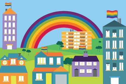 Illustration of houses and flats with LGBT flat raised aloft of each