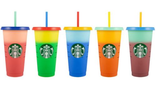 five-piece colour-changing cups