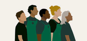Illustrated representation of a diverse mix of Starbucks staff
