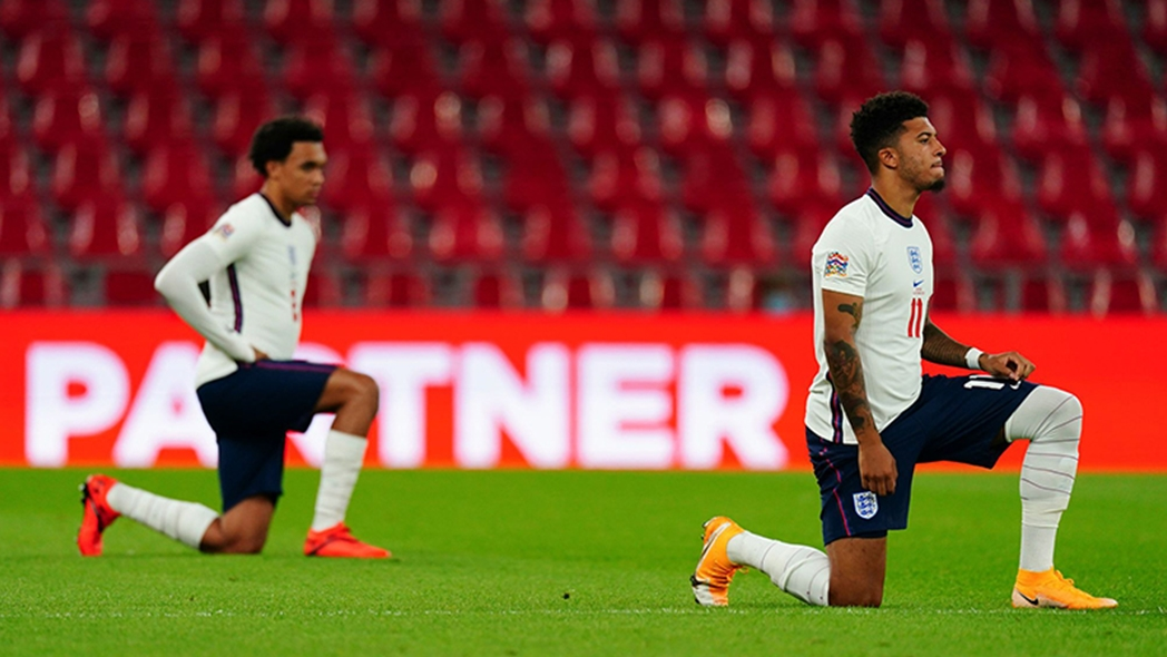 England's Jadon Sancho and Trent Alexander-Arnold took the knee before the game with Denmark in September