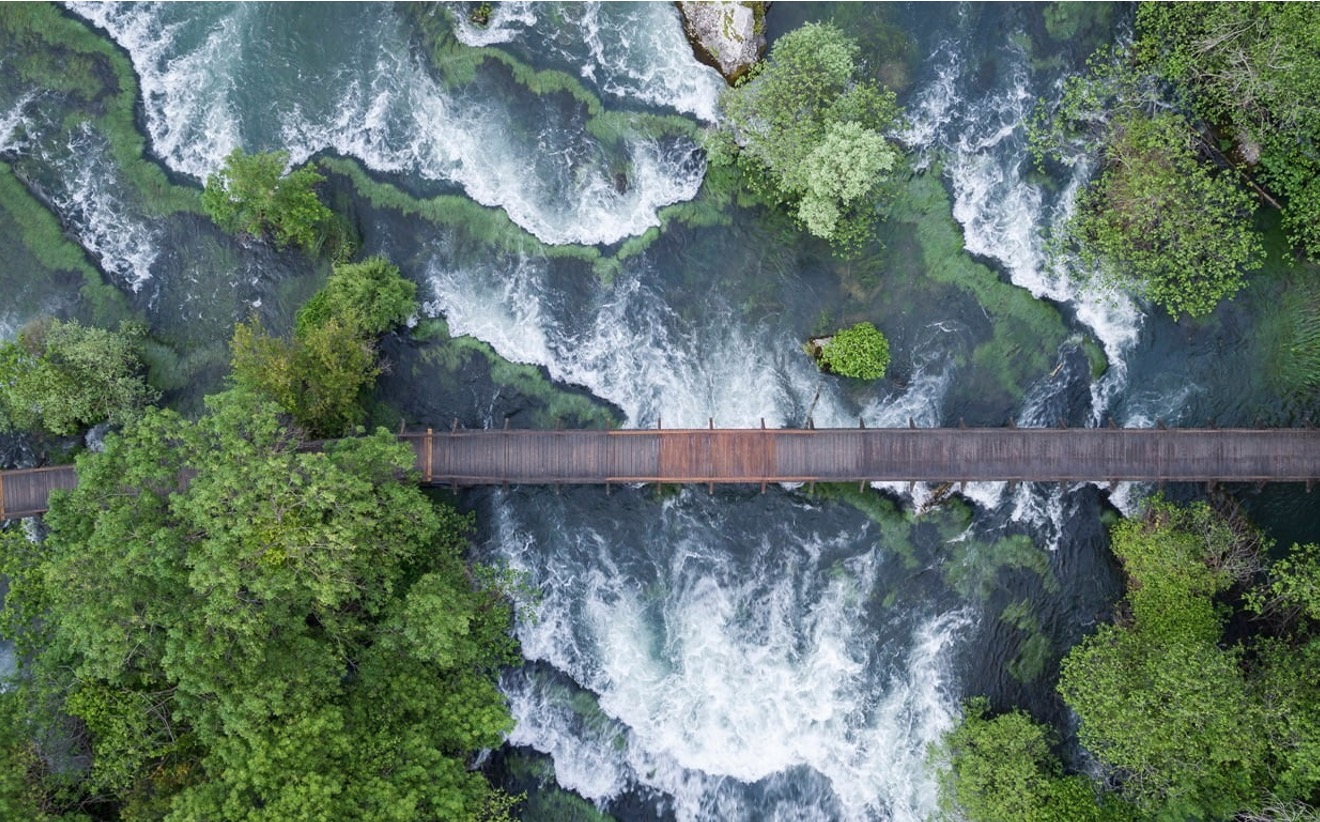 birds eye view of a bridge over a river