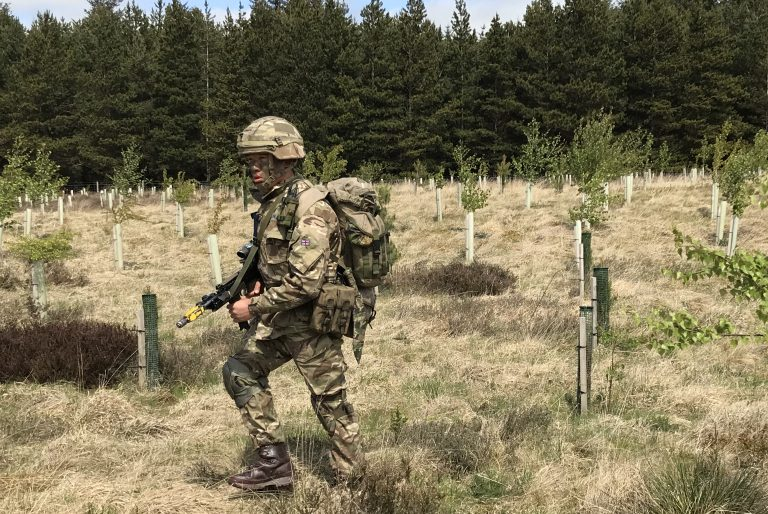 A Gurkha recruit from ITC Catterick moving across woodland plantation [Crown Copyright/MOD2018]