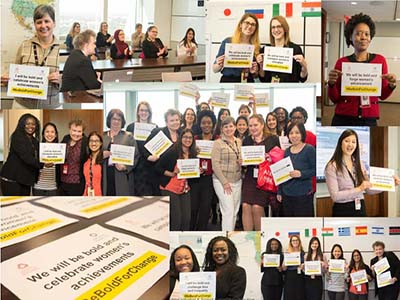 A collage of images featuring women holding small banners calling for celebrating women achievements