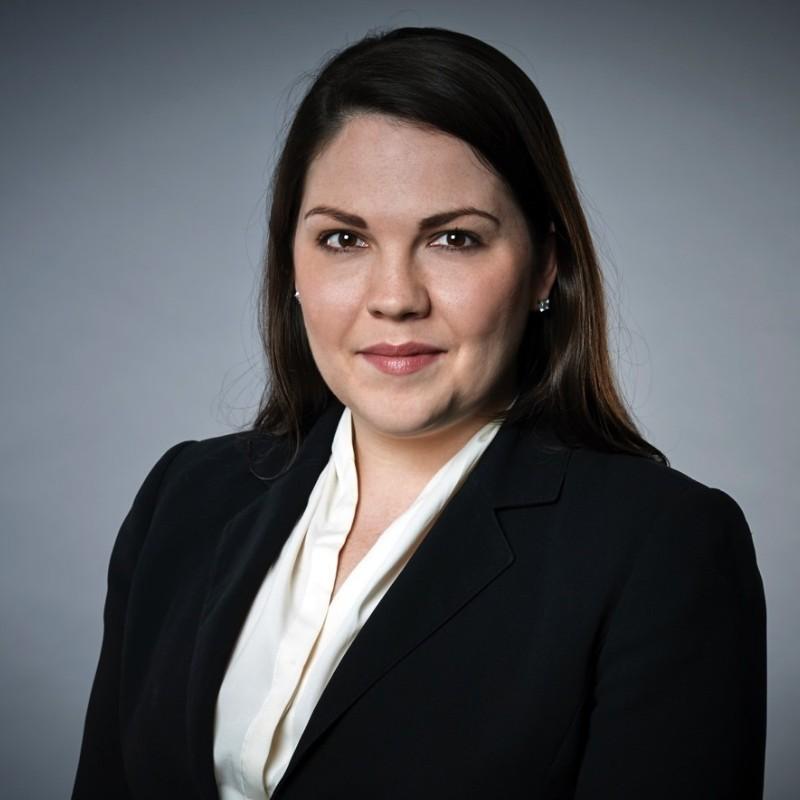 Head and shoulder shot of Stephanie Ellis.  White female, long straight brown hair