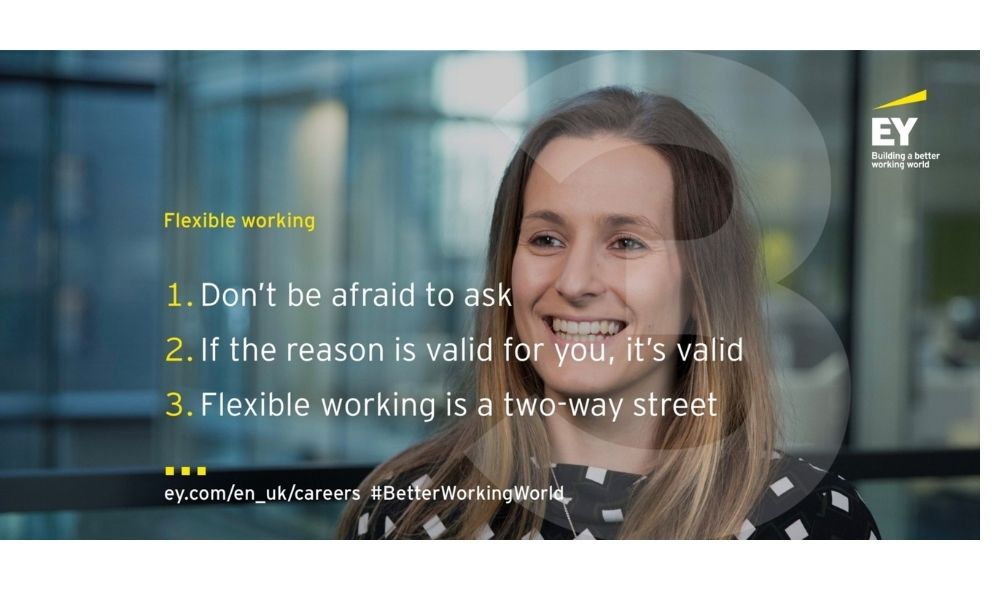 Flexible working statements with a white female in the background