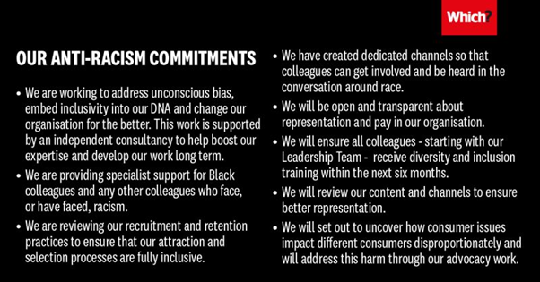 Which anti-racism commitments