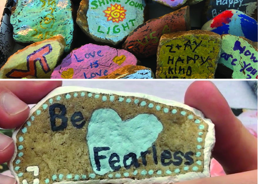 Colorfully painted rocks with positive messages