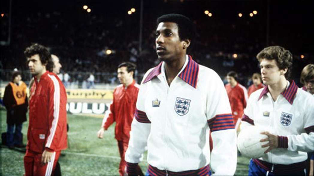 Viv Anderson walks out at Wembley in 1978, to become the first black England senior international