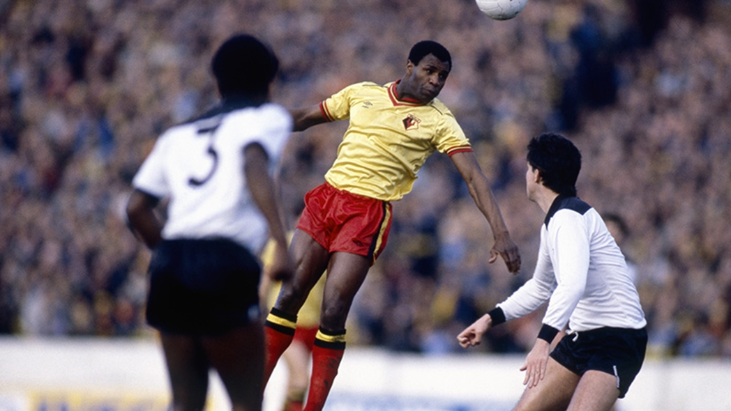 Luther Blissett in full flight for Watford, the club where he made his name in England