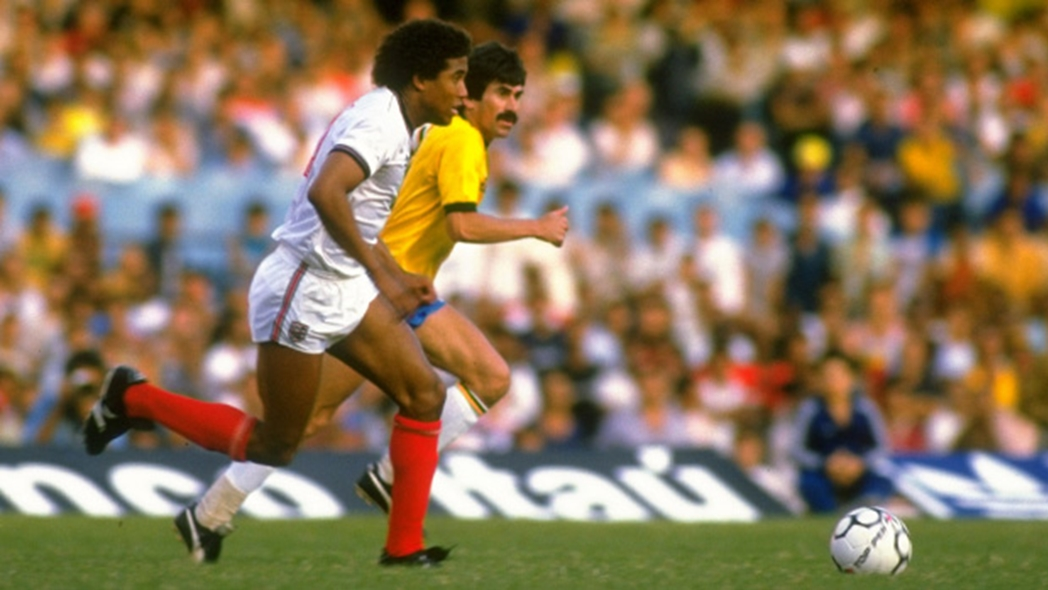 John Barnes in action for the Three Lions against Brazil, a game in which he scored one of England's finest goals