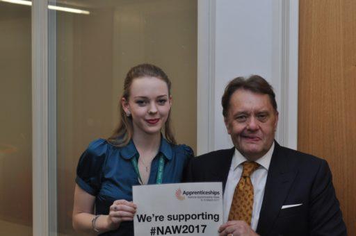 Image of Heidi Catlin, Department For Transport Apprentice And Rt Hon John Hayes CBE MP, Skills Minister