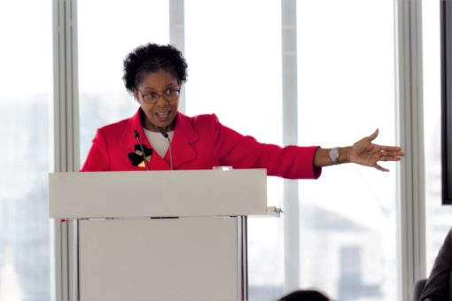 Joan Saddler, Associate Director, NHS Confederation, speaking at the event