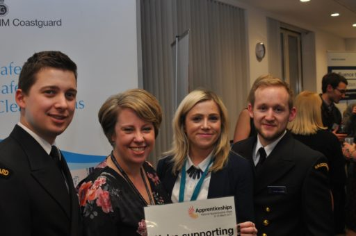 Image of Joshua Rabbette, Maritime Operations Officer, MCA, Tess Ewington, Head Of DfT Group Talent, Learning & Capability, Rosie Tapping, Talent Lead, MCA And David Hurden, Maritime Operations Officer, MCA