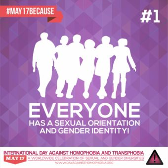 Group of people with Everyone has a sexual orientation and gender identity with #MAY17BECAUSE in the top left hand corner and logo underneath
