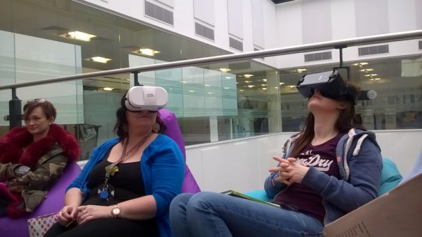 Image of DVLA staff experimenting with Virtual Reality