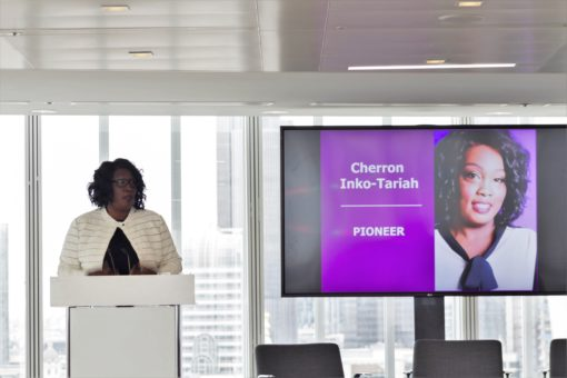 Cherron Inko-Tariah from Power of Staff Networks, speaking at the event