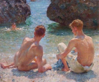 Image of the Henry Scott Tuke oil painting, The Critics. Showing two males sitting on the beach.