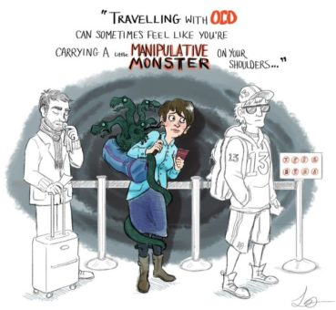 Image of woman in line at the airport with a little monster coming out of her backpack with a speech bubble saying