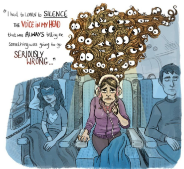 Imaage of a woman in an airplane seat with a speech bubble saying