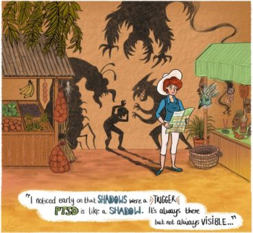 Image of a woman in a market surrounded by scary shadows with speech bubble saying,