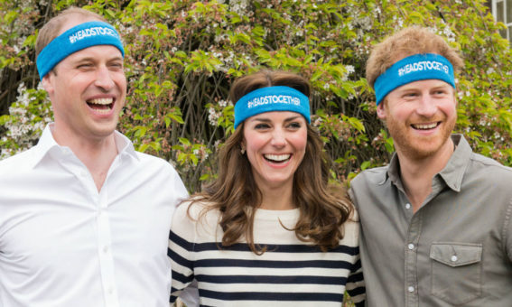 Image of The Duke and Duchess of Cambridge with Prince Harry wearing #HeadsTogether headbands