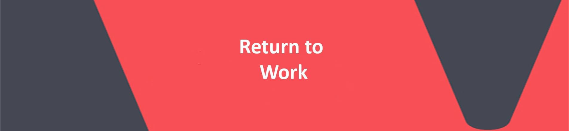 Title Return to work on red VERCIDA branded background