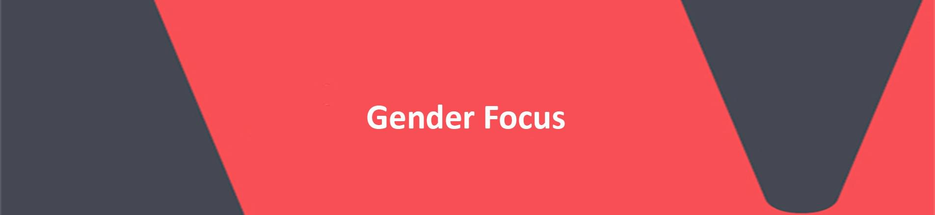 """Image of the words """"Gender Focus"""" red background white letters."""