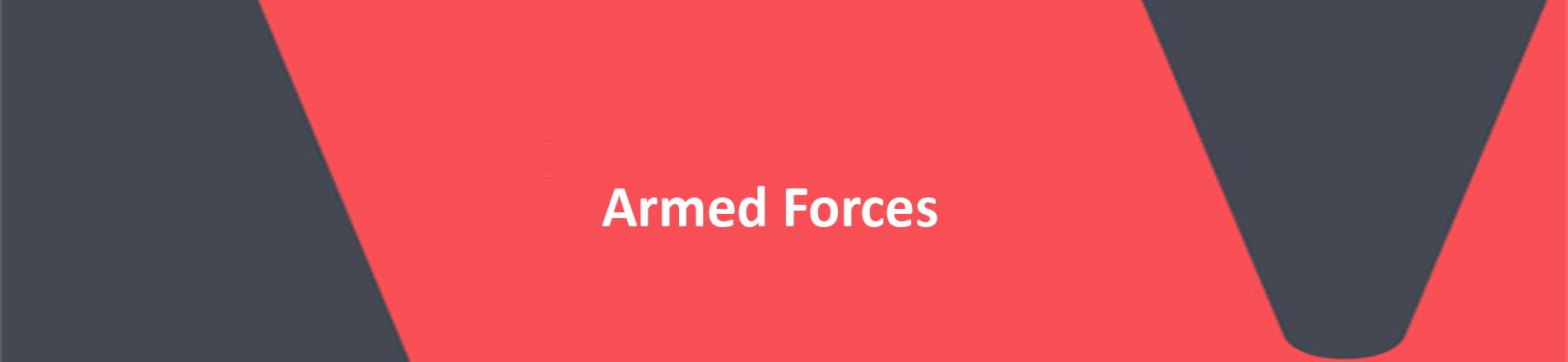 """VERCIDA logo banner.  Red background  with words """"Armed Forces"""" in white text."""