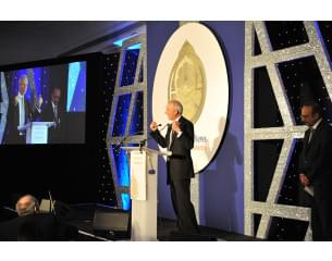 Photo of Chancellor of the Duchy of Lancaster, David Lidington, giving speech at the Muslim News Awards event in April 2018.