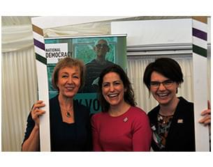 Photo from launch of National Democracy Week Awards. Three women including Chloe Smith MP.