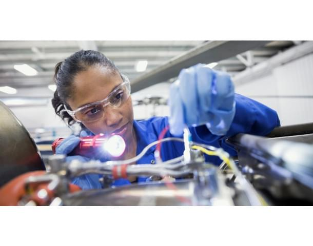 Image of a female BEIS technician at work.