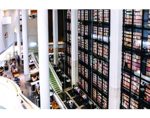 View of rows of books at the British Library