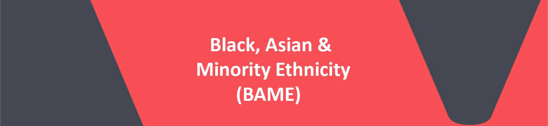 """Image of VERCIDA banner.  Red background with the phrase """"Black, Asian & Minority Ethnicity; open brackets, BAME , close brackets"""" spelled out in white letters."""