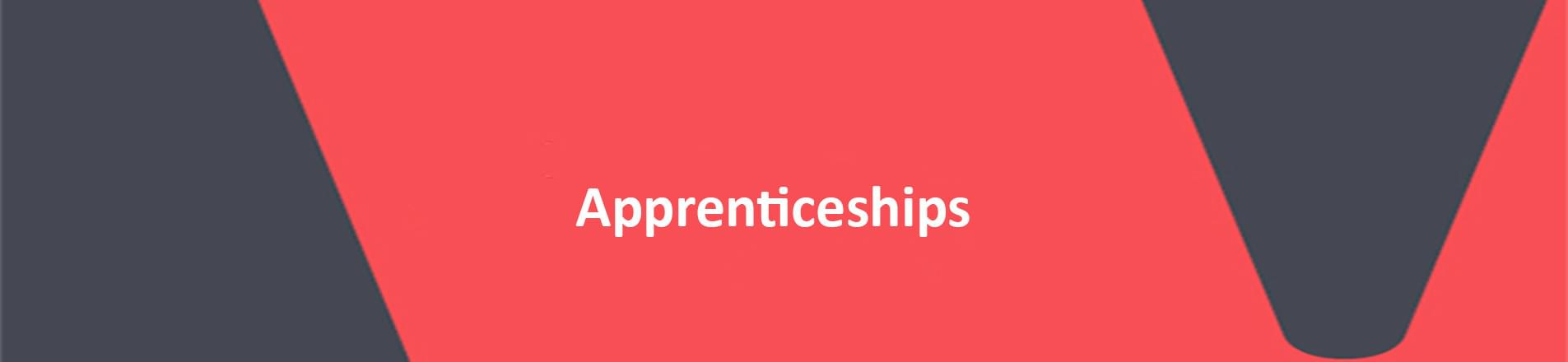 The word Apprenticeships on red VERCIDA branded background