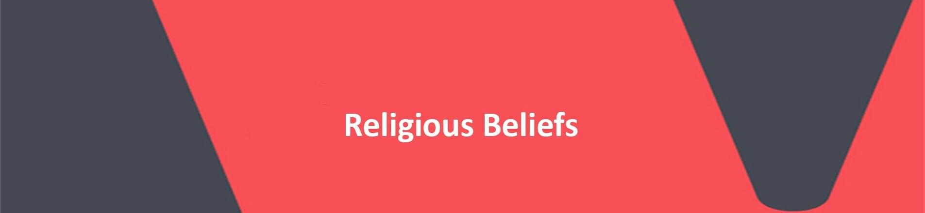 Red background with white text overlaid, spelling Religious Beliefs.