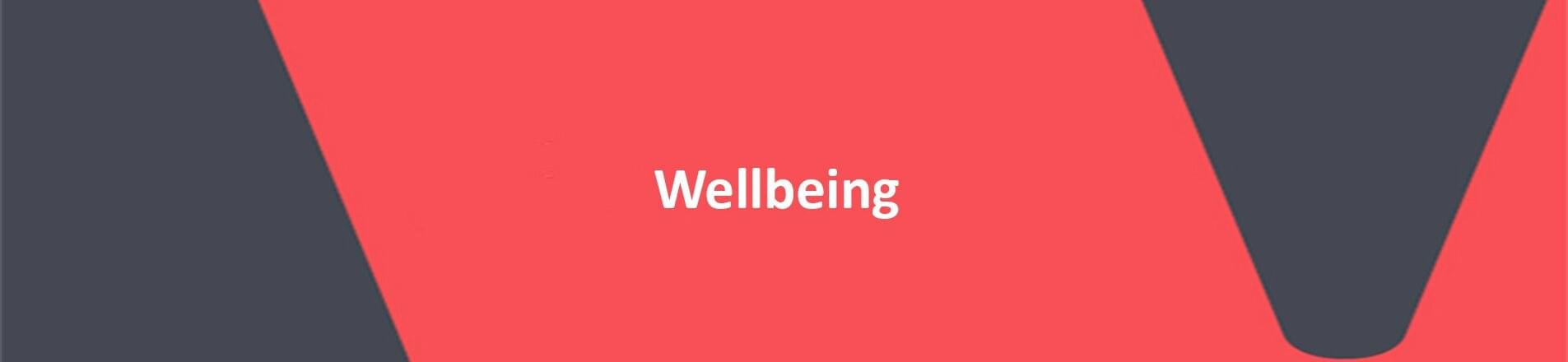 Red background with white text overlaid spelling Wellbeing.