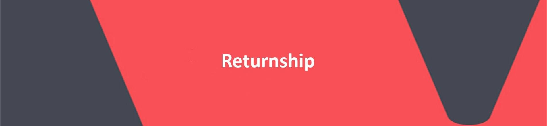 Red background with text overlaid spelling Returnship.