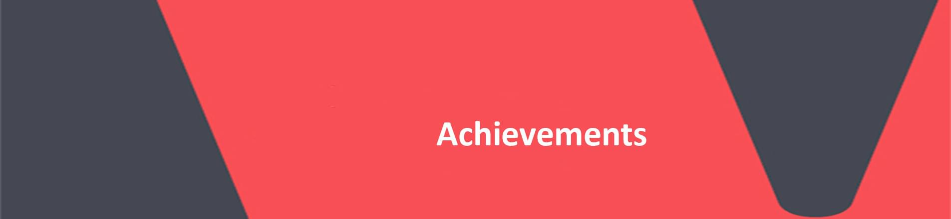 Red background with white text overlaid spelling Achievements.