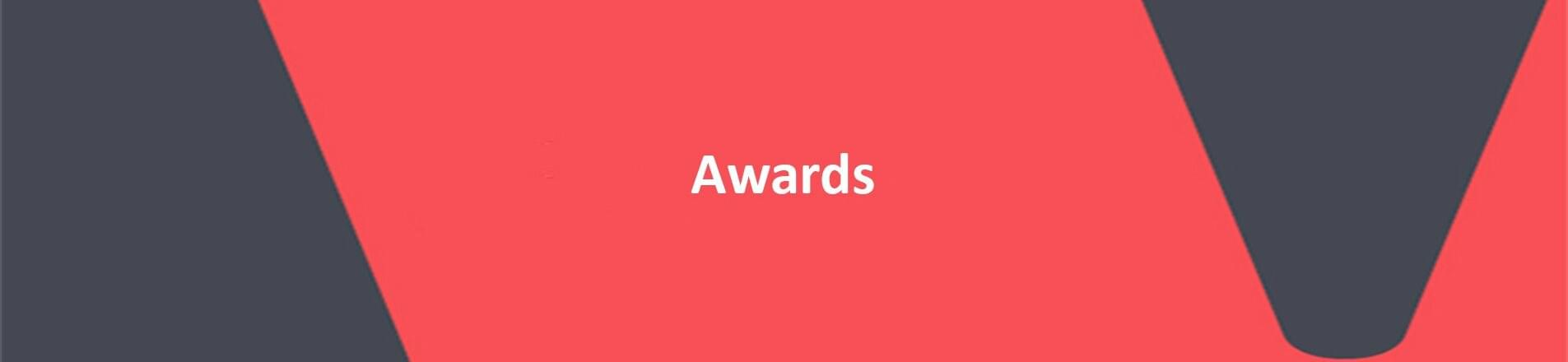 Red background with white text overlaid, spelling Awards.