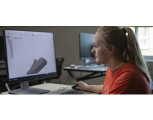 Young woman designing a prosthetic