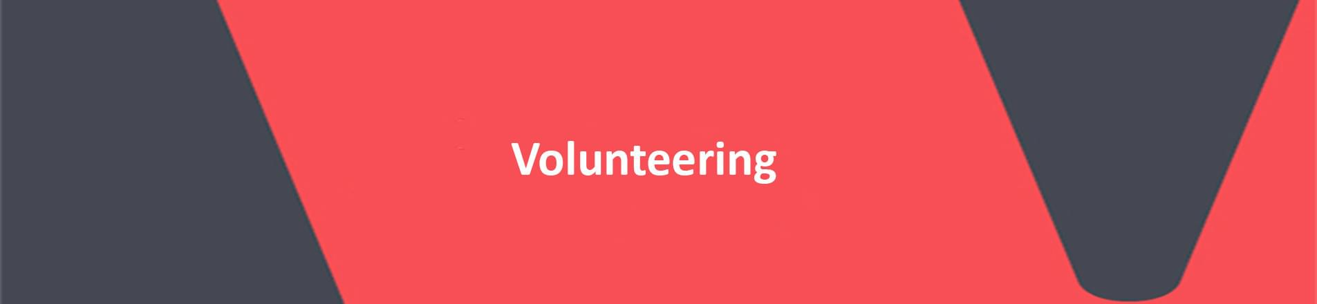 red text with white banner reading volunteering