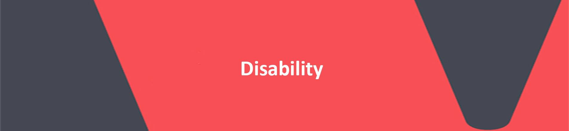 red banner with white text reading disability
