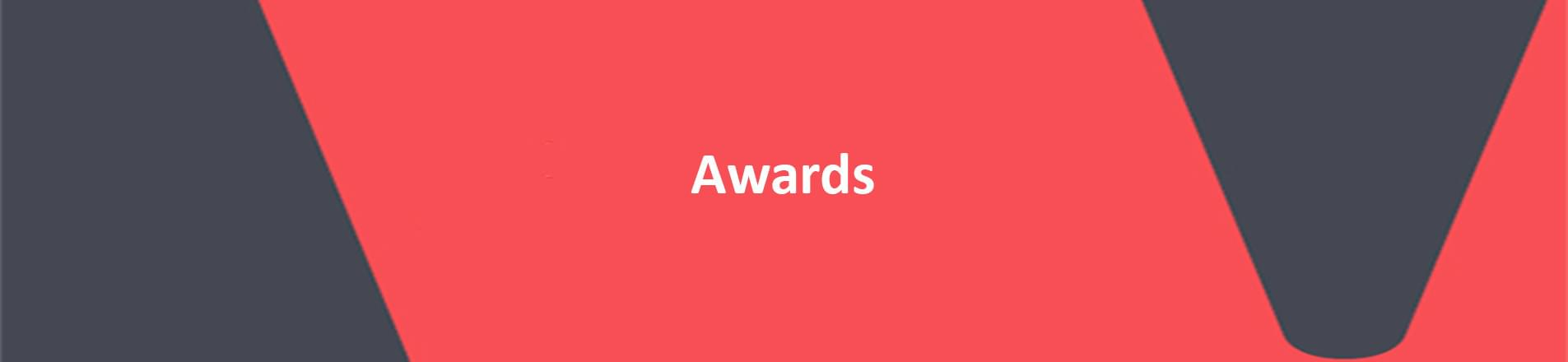 red banner with white text reading awards