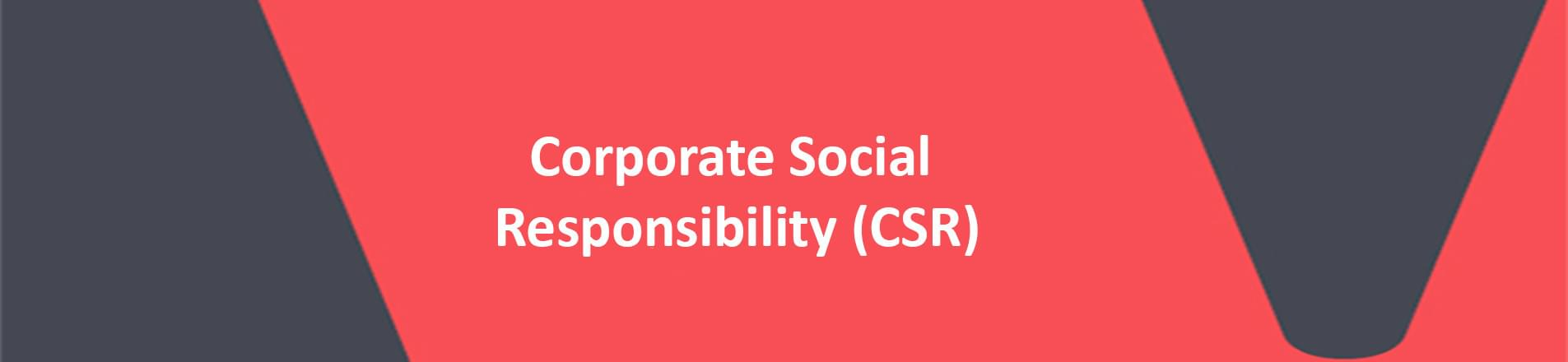 red banner with white text reading corporate social responsibility (CSR)