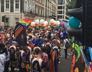 PRIDE 2019 London, revelers with balloons.